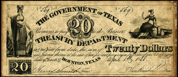 1838 Photograph - Texas Banknote 1838 by Granger