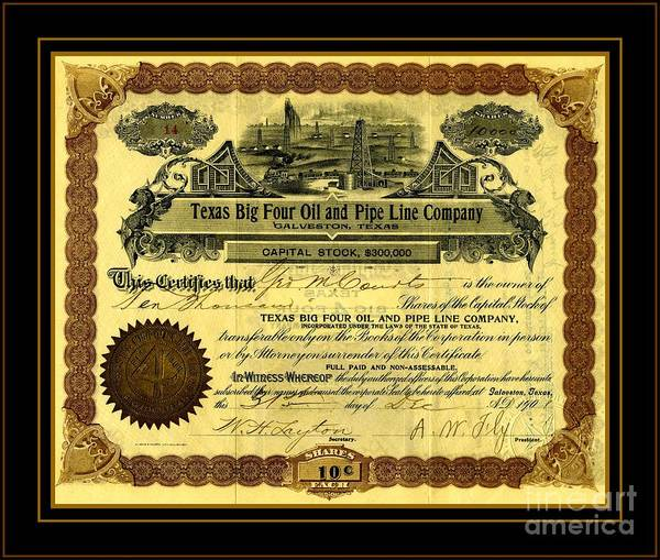 Petroleum Drawing - Texas Big Four Oil And Pipeline Company Stock Certificate 1901 With Oil Field And Railroad Scene by Peter Ogden Gallery