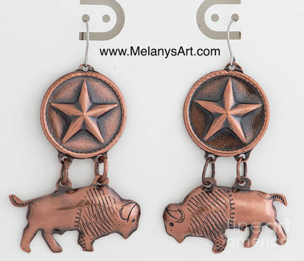 Jewelry - Texas Bison Copper Earrings by Melany Sarafis