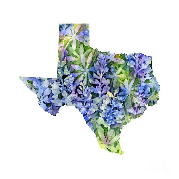Longhorns Wall Art - Painting - Texas Blue Texas Map On White by Hailey E Herrera