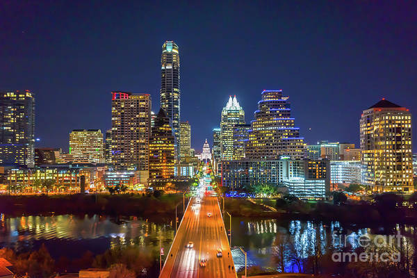 Capital Of Texas Wall Art - Photograph - Texas Capital Skyline After Dark by Bee Creek Photography - Tod and Cynthia