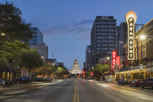 Texas Capitol Photograph - Texas Capitol And The Paramount From Congress by Rob Greebon