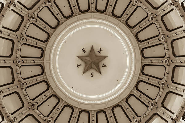 Photograph - Texas Capitol Building Dome In Sepia - Austin Tx by Gregory Ballos