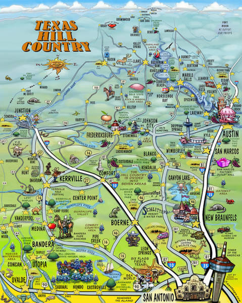 Digital Art - Texas Hill Country Cartoon Map by Kevin Middleton