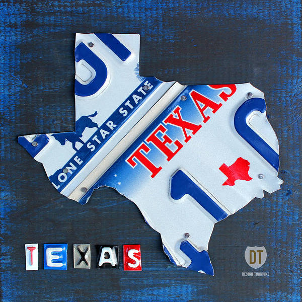 Vintage Automobiles Mixed Media - Texas License Plate Map by Design Turnpike