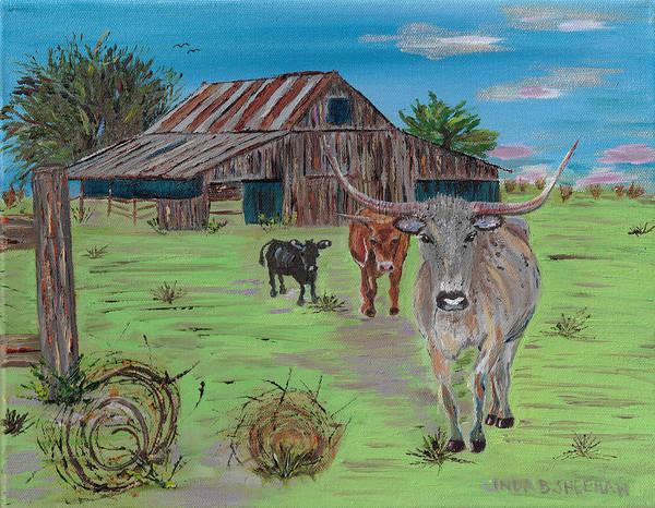 Fencepost Painting - Texas by Linda Brown Sheehan