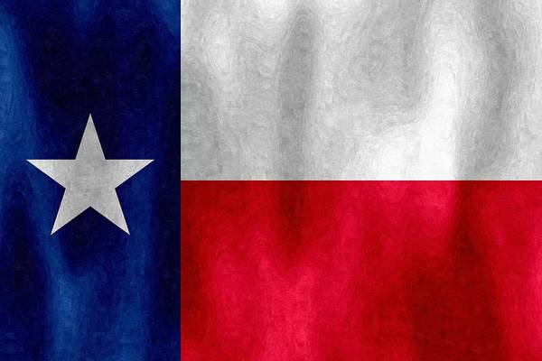 Texas Lonestar Flag In Digital Oil Art Print