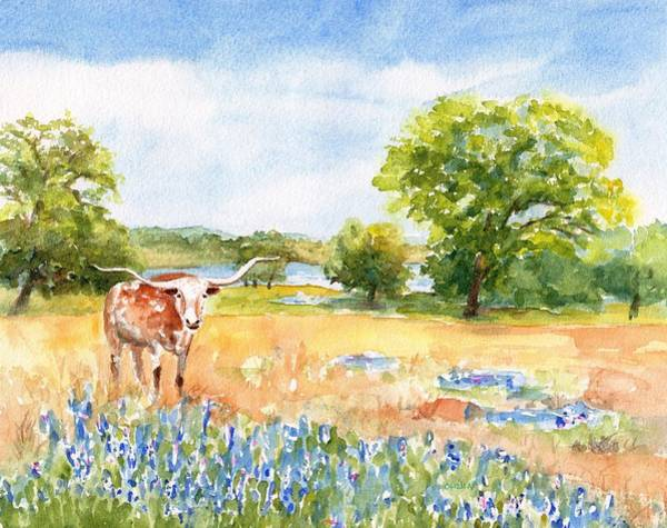 Painting - Texas Longhorn And Bluebonnets by Carlin Blahnik CarlinArtWatercolor