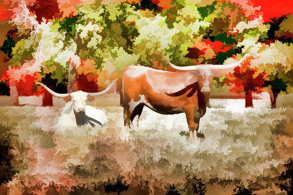 Painting - Texas Longhorn Cattle 5314.02 by M K Miller