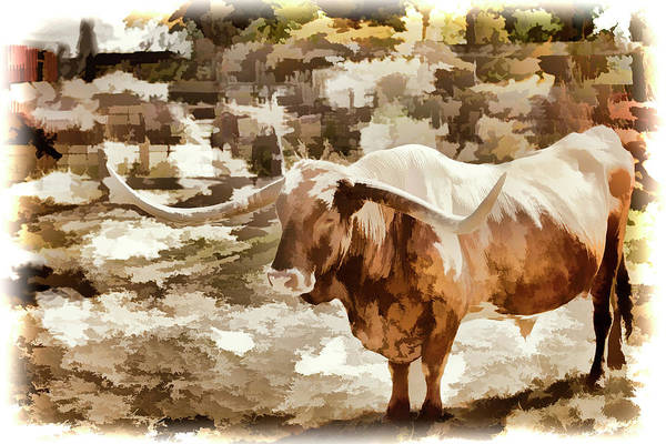 Painting - Texas Longhorn Cattle 5314.07 by M K Miller