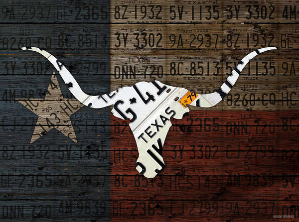 Longhorns Wall Art - Mixed Media - Texas Longhorn Recycled Vintage License Plate Art On Lone Star State Flag Wood Background by Design Turnpike