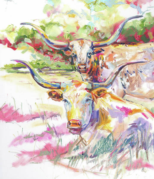 Hereford Bull Painting - Texas Longhorns By Kim Guthrie by Kim Guthrie