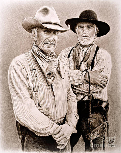 Wall Art - Drawing - Texas Rangers Gus And Woodrow by Andrew Read