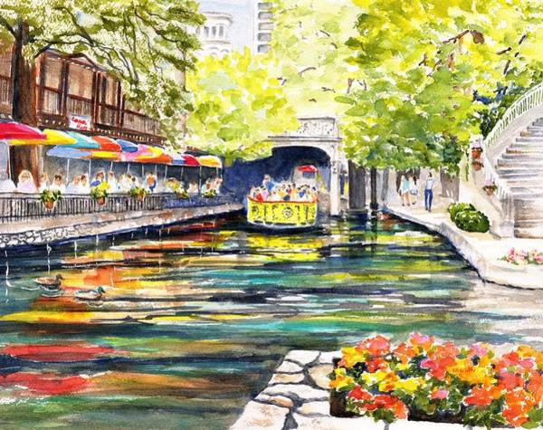 Painting - Texas San Antonio River Walk by Carlin Blahnik CarlinArtWatercolor