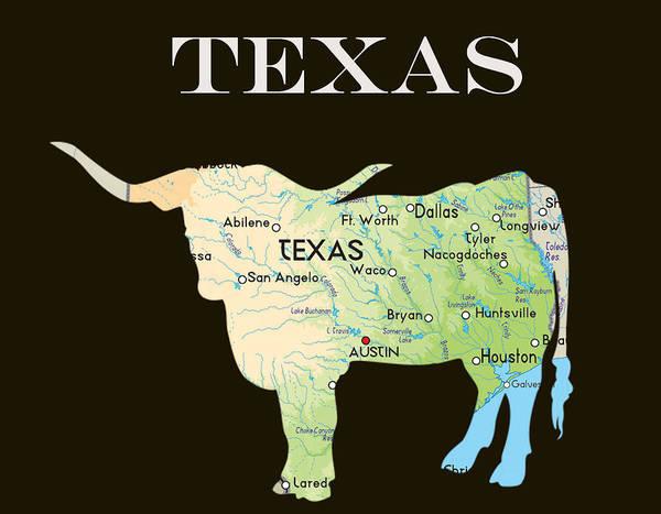 Longhorn Digital Art - Texas by Art Spectrum