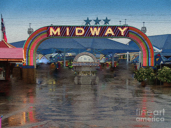 Ice Carving Photograph - Texas State Fair Midway, Rainy Day by Greg Kopriva