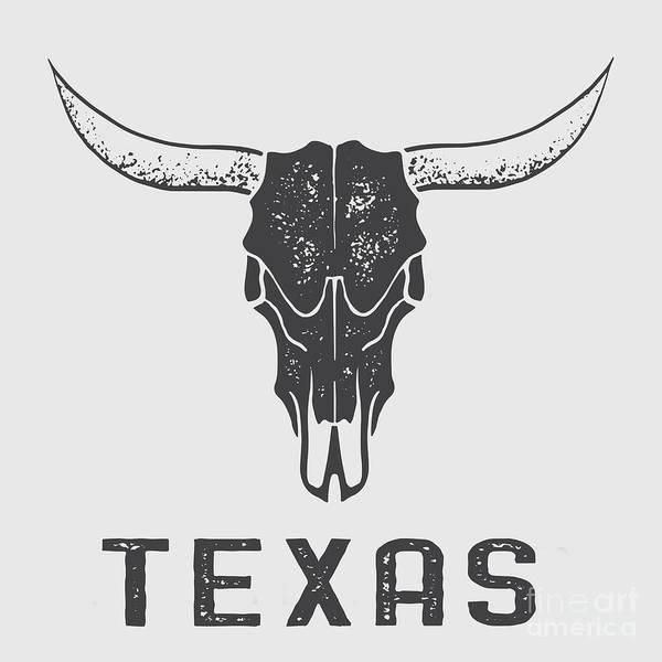 Longhorn Digital Art - Texas Steer Skull Tee by Edward Fielding