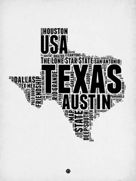 Wall Art - Digital Art - Texas Word Cloud 2 by Naxart Studio