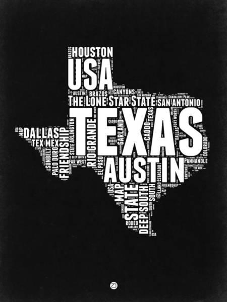 Texas Digital Art - Texas Word Cloud Black And White Map by Naxart Studio