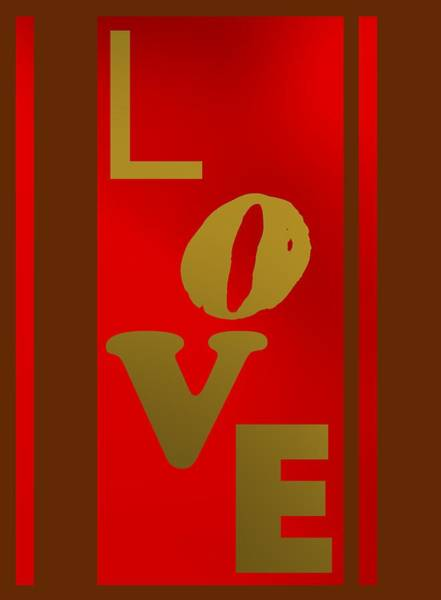 Digital Art - Text Love In Gold by Alberto RuiZ