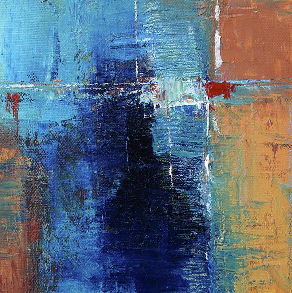 Ultramarine Blue Painting - Textured Square No. 2 by Nancy Merkle