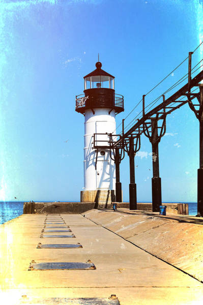 Mixed Media - Textured St Joseph Lighthouse Michigan by Dan Sproul