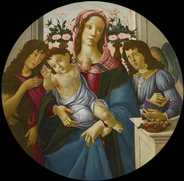 Botticelli Wall Art - Painting - Tha Madonna And Child With Saint John The Baptist And An Angel Before A Window by Botticelli and Studio
