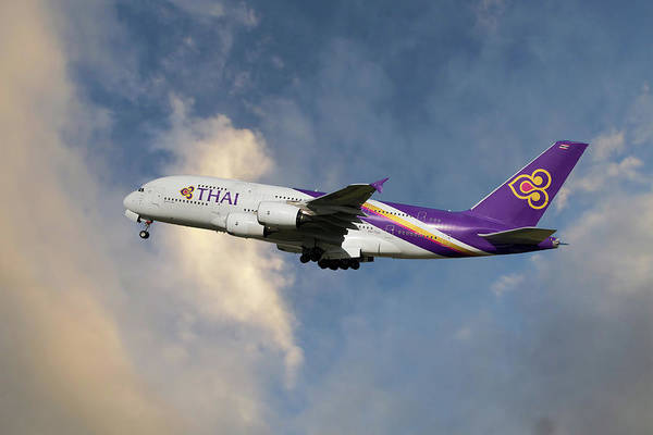 Thai Wall Art - Photograph - Thai Airways Airbus A380-841 by Smart Aviation