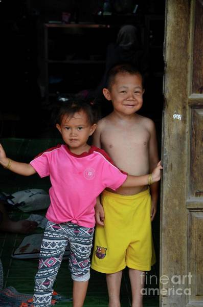 Photograph - Thai Brother And Sister At Doorway In Fishing Village Pattani Thailand by Imran Ahmed