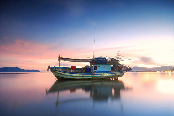 Blue Water Photograph - Thai Fishing Boat by Teerapat Pattanasoponpong