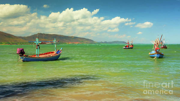 Thai Wall Art - Photograph - Thai Fishing Boats by Adrian Evans