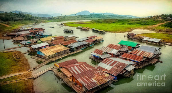 Houseboat Photograph - Thai Floating Village by Adrian Evans