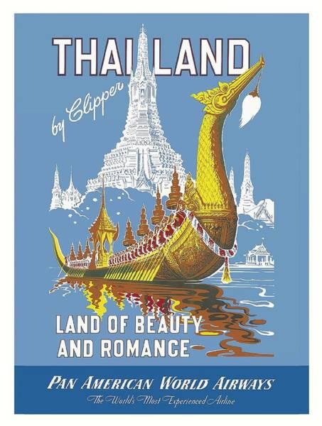Royal Digital Art - Thailand Royal Barge Pan Am Vintage Travel Poster by Retro Graphics