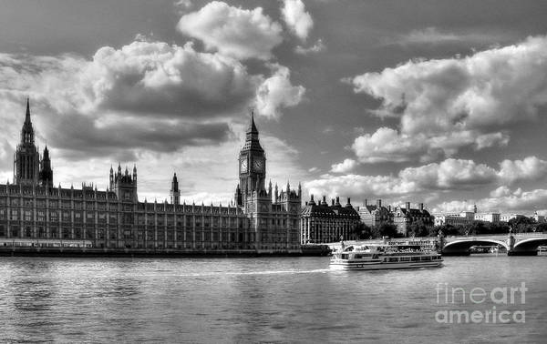 Photograph - Thames River In London 2 Bw by Mel Steinhauer