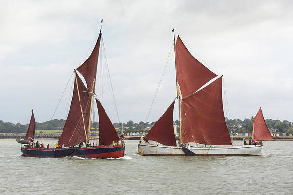 Photograph - Thames Sailing Barges Repertor And Reminder by Gary Eason