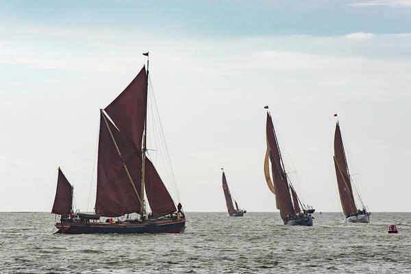 Photograph - Thames Sailing Barges Tacking by Gary Eason