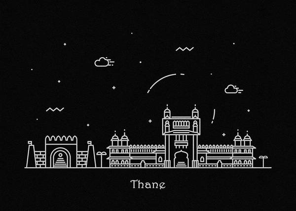 India Drawing - Thane Skyline Travel Poster by Inspirowl Design