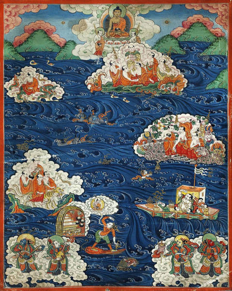 Thangka Painting - Thangka With Buddhist Parable Of The Arhats by Anonymous from Tibet