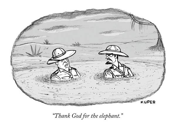 Elephant Drawing - Thank God For The Elephant by Peter Kuper
