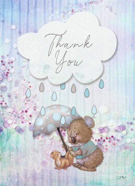 Wall Art - Mixed Media - Thank You - Bear by Mo T