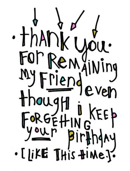 Thank You Birthday Art Print