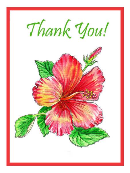 Hibiscus Flower Painting - Thank You Hibiscus  by Irina Sztukowski
