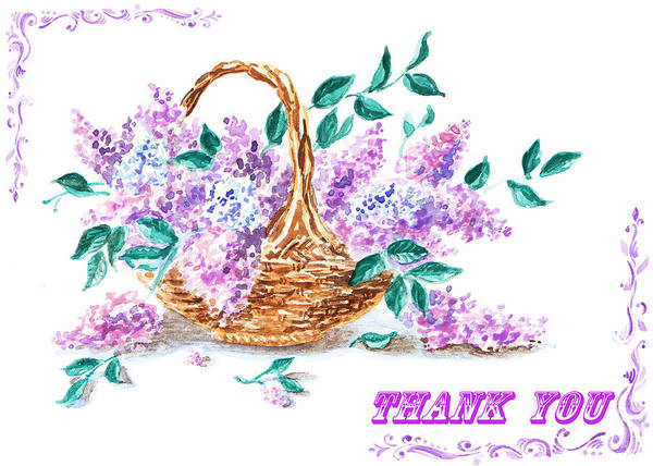 Painting - Thank You Lilac Flowers by Irina Sztukowski
