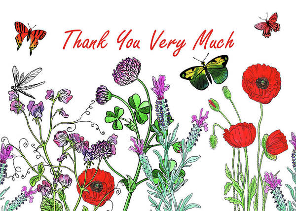 Wall Art - Painting - Thank You Very Much Card Watercolor Flowers And Butterflies by Irina Sztukowski