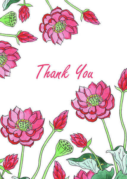 Painting - Thank You Watercolor Lotus Flowers by Irina Sztukowski