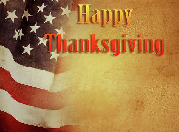Wall Art - Photograph - Thanksgiving American Flag  by Les Cunliffe