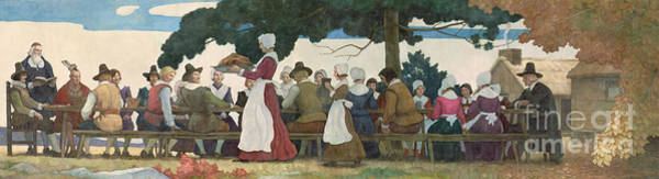 Settlers Painting - Thanksgiving Banquet by Newell Convers Wyeth