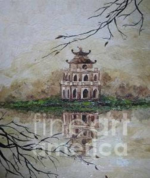 Wall Art - Painting - Thap Rua In Swort Lake  by Le Dac Trung