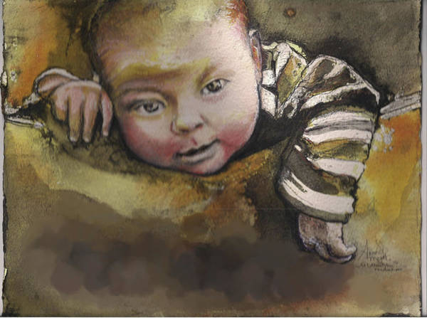 Painting - That Baby 3 Commission by Anne-D Mejaki - Art About You productions