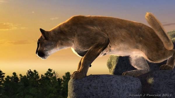 Puma Digital Art - That Golden Moment by Ron Pancake